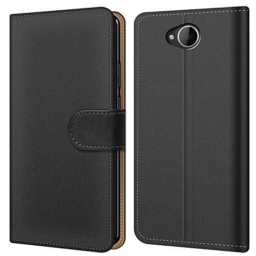 Conie BW20167 Basic Wallet Kompatibel mit Microsoft Lumia 650, Booklet PU Leder Hülle Tasche mit Kartenfächer & Aufstellfunktion für Lumia 650 Case Schwarz