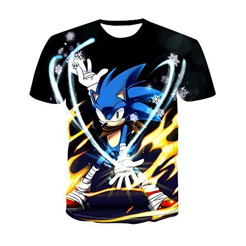LXZ 3D Patrón Impreso Camisetas,Unisex 3D Impresión Anime Sonic Camiseta Suelta Hombre Cuello Redondo Manga Corta Fitness Ocio Outdoor Verano Top-2Xl