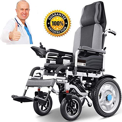 GQQ Comfort Electric Wheelchair Lightweight Wheelchair, Dual-Function Heavy-Duty, Open/Fast-Fold Compact Electric Chair Drive with Power or Manual Wheelchair 15-25Km Range 46Cm Wide Seat,Grey,20A/25K