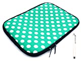 emartbuy ® Bundle Pack Of White Stylus Pen & Polka Dots Grün/Weiß (7 Zoll Tablet/Ereader/Netbook) Water Resistant Neoprene Soft-Zip Case/Cover Für Odys Neo X7 Tablet (7 Zoll Tablet)