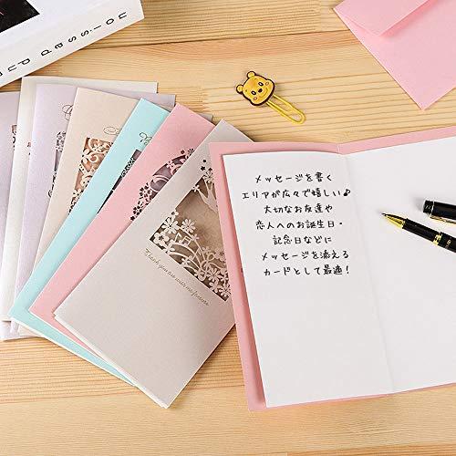 moinmoinメッセージカードバースデーグリーディング切り絵影絵シルエットピンクブルーイエローカラフル花大きめラージエッフェル塔小鳥カード+封筒8種セット