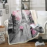 Pink Tower Blanket Sakura Throw Blanket Sherpa Fleece Blanket Lover Walking on Paris Street Printed Soft Warm Flower Blanket for Bedroom Couch Sofa (Throw(50'x60'), Paris Tower 3)