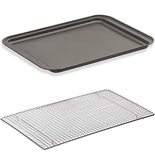 husMait Non-Stick Baking Sheet & Cooling Rack - Superior Long-Lasting Baking Pan & Cooling Rack for Cookies, Dough, and Pastries