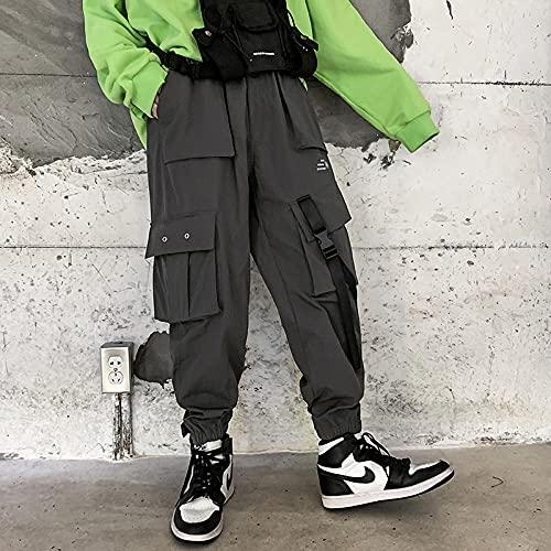 Multi Bolsets Pantalones de Carga Hombres Casual Jogger Men Harajuku Streetwear Pantalones Hip Hop Pants Techwear-Gris_LOS