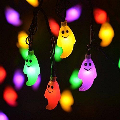Guirlande lumineuse solaire avec 20 LED pour Halloween, décoration de fée, guirlande lumineuse pour extérieur, Noël, patio, pathway, jardin, fête (multicolore)