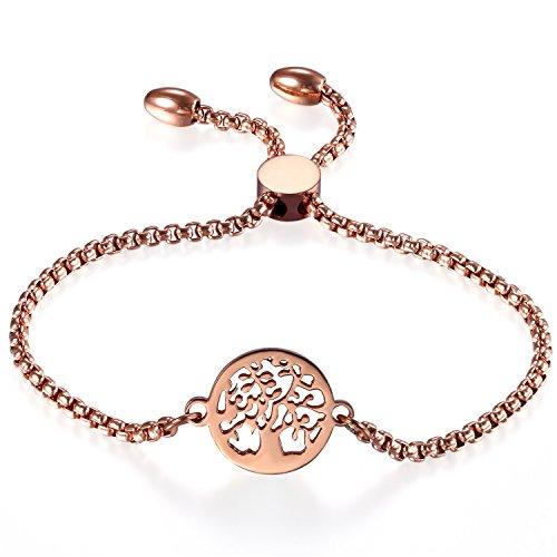 Cupimatch Damen elegant Edelstahl Charm Armband Armreifen, Verstellbares Lebensbaum Armkettchen, Rosegold, Silber