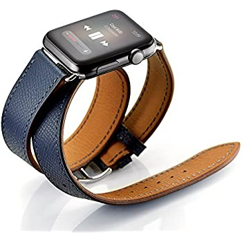 Maxjoy Compatible with Apple Watch Band, Genuine Leather Bands 42mm 44mm Strap Replacement Wristband with Metal Clasp Compatible with Apple iWatch Series 4 3 2 1 Sport Edition, Dark Blue