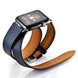 Maxjoy Compatible with Apple Watch Band, Genuine Leather Bands 38mm 40mm Strap Replacement Wristband with Metal Clasp Compatible with Apple iWatch SE Series 6 5 4 3 2 1 Sport Edition, Dark Blue