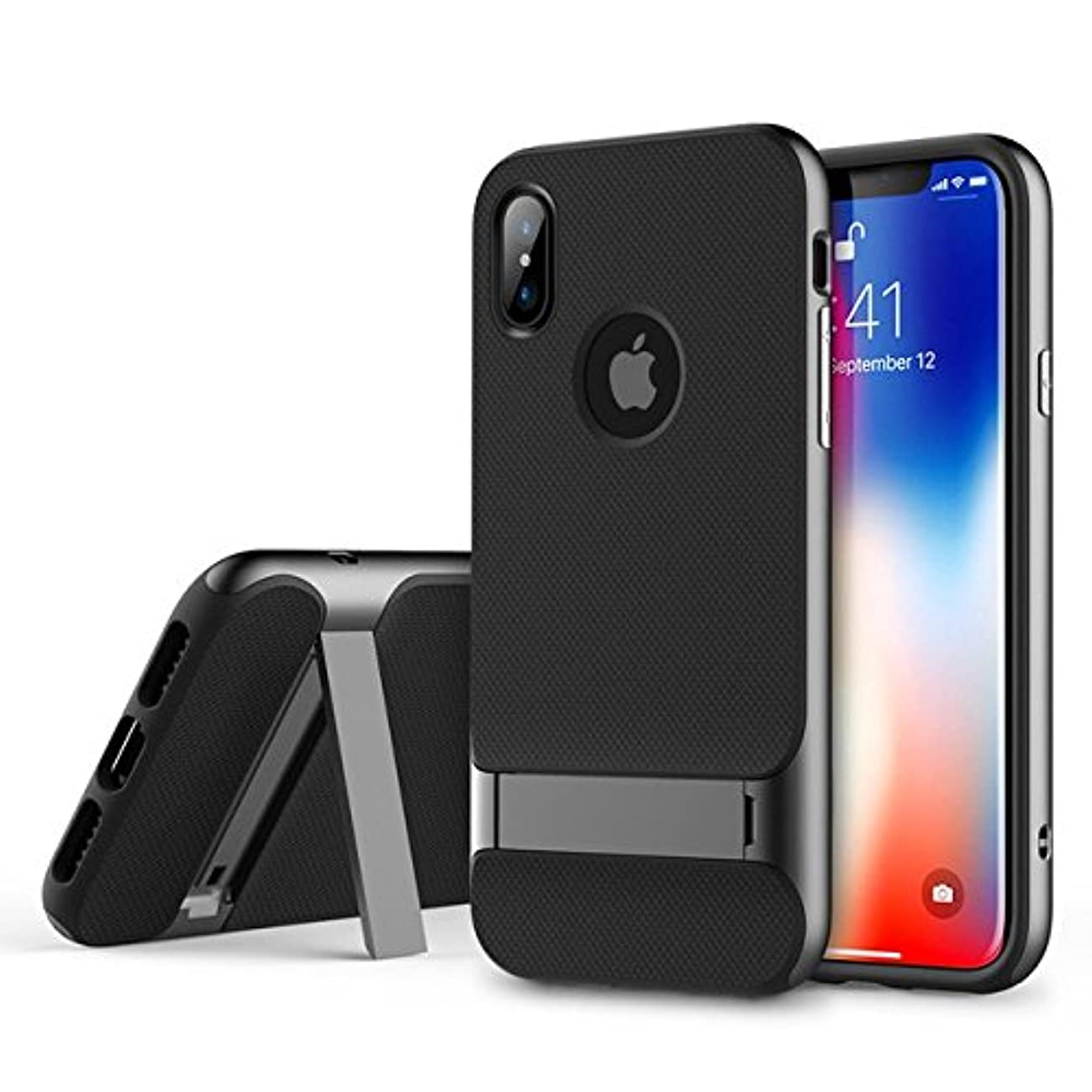 IPhone X/XS Case With Kickstand,EMEYGROUP Stand Shockproof Cover PC+TPU Premium Carbon Fiber Dual Layer Hybrid Shock Proof Ultra Thin Slim Fit Built-in Holder Protective Case For iPhone 10S 10 (grey)