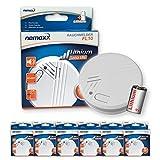 6X Nemaxx FL10 Detector de Humo con batería de Litio de 10 años, Alarma de Seguridad contra Incendios - de Acuerdo a la Norma DIN EN 14604
