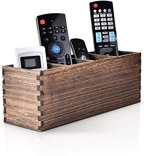 Remote Control Holder, 4 Slots Wooden Remote Control Caddy Organizer, Multi-Functional Remote Oraniger for TV Remotes, Airmouse, Game Console, Phones, Pens, Office Supplies