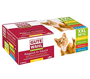 Dehner Nourriture pour Chat Gute Wahl Pack XXL pour Adulte - 48 sachets de 100 g de Poulet, Agneau, Boeuf et Saumon (12 sachets de Chaque sorte) - 4,8 kg