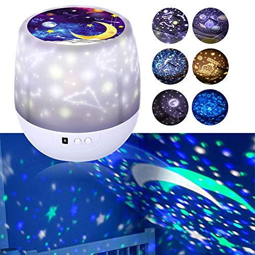 Lampada Proiettore Stelle, Proiettore Stelle Bambini, con 360 Rotating Night, 6 Combinazioni dimmerabili-3 Luminosità Regolazioni Lampada Proiettore Romantic Starry Sky per Party Compleanno