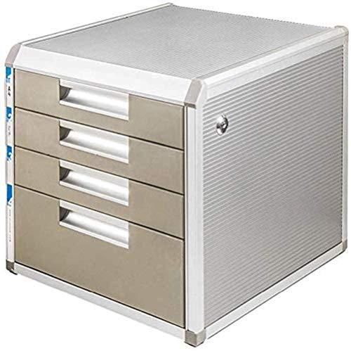 Armadio deposito, file rivista File Family Desk Decoration Box Scatola di immagazzinaggio 4 ° piano in lega di alluminio + tavola di legno + Plastic Desk Organizer Home Office Mobili (Colore: A), Colo