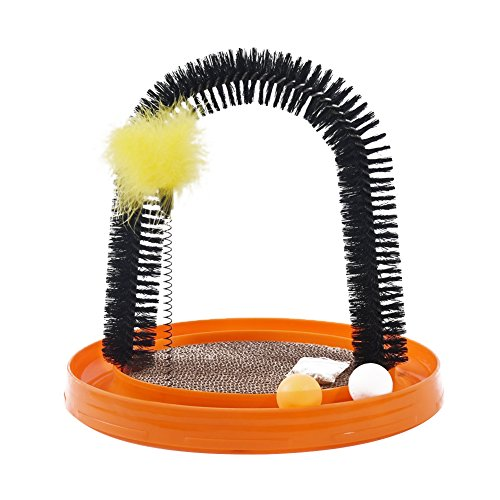 Luck Dawn Cat Arch Self-Grooming Massage Station with Scratching Cardboard, Feather Toy, Ball and...