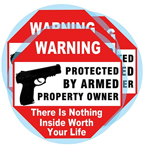 Warning Signs Gun There is Nothing Here Protected by Armed Property Owner Sign Static Cling Decal or Sticker on Window 6 x 6 Inch (Static Cling Decal)