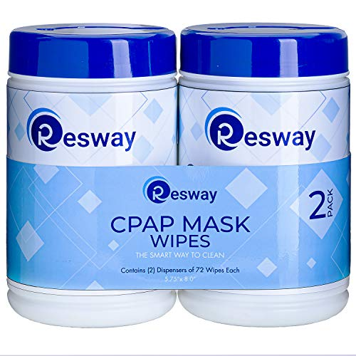 Resway Respiratory Machine Mask Cleaning Wipes - Unscented, Extra Large, Non-Woven - for Mask, Machine, Tubing - Remove Dust, Dirt, Oil 72-8x5.75-Inch Sheets per Travel-Friendly Canister - 2-Pack