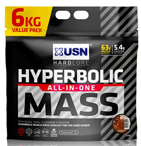 USN Hyperbolic Mass Chocolate 6 kg: All-In-One Mass Gainer Protein Powder, For Fast and Effective Weight Gain