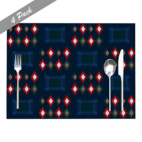 Douecish Farmhouse Placemats,Washable,Heat-Resistant Christmas Plaid Repeat Pattern Tartan All Over Ornament Minimal Geometric Modern Placemats for Kitchen,Dining Table,Dining Room,18X12,Set of 4