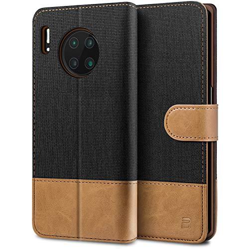 BEZ Handyhülle für Huawei Mate 30 Pro Hülle, Tasche Kompatibel für Huawei Mate 30 Pro, Schutzhüllen aus Klappetui mit Kreditkartenhaltern, Ständer, Magnetverschluss, Schwarz