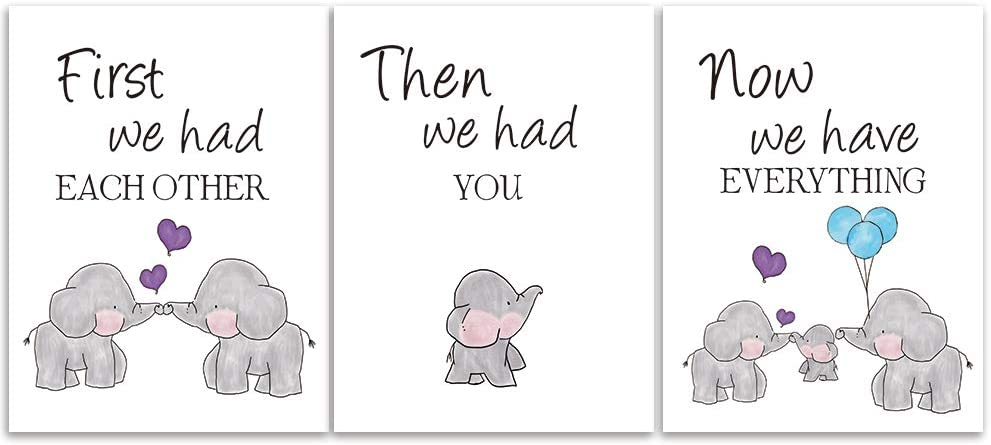 KAIRNE Cute Baby Elephant Watercolor Art Free shipping on posting Quality inspection reviews 3 Set of Balloon Print