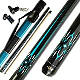 TaiBA Cues 2-Piece Pool Stick + Hard Case, 13mm Tip, 58', Hardwood Canadian Maple Professional Billiard Pool Cue Stick 18,19,20,21 Oz (Selectable)-Blue, Black, Red, Gray, Green, Brown