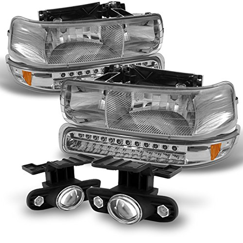 For 99-02 Silverado | 00-06 Suburban Tahoe Headlights+ LED Bumper Signal+ Projector Fog Lights