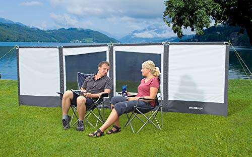 BERGER Windschutz Deluxe mit Fenster Sichtschutz Camping Sonnenschutz Garten Strand Terrasse Windschutz