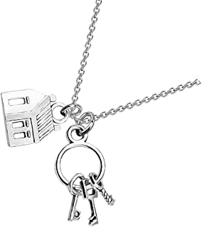 Novelty Necklace Realtor House Key Asymmetrical Pendant Necklace Real Estate Agents Jewelry Gift for Home Seller Realtor
