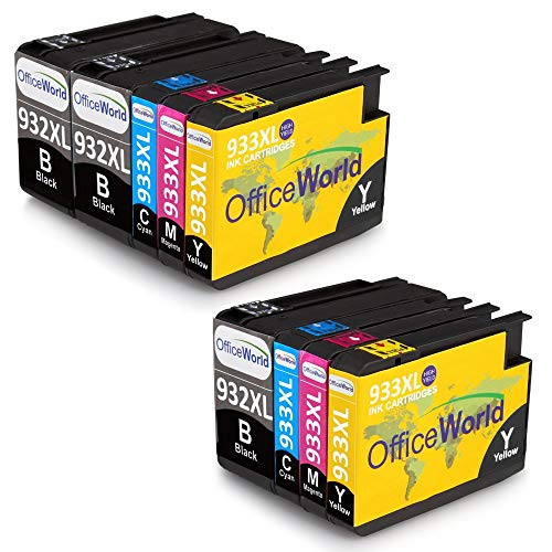 OfficeWorld 932XL 933XL Alta Capacidad Cartuchos de tinta Reemplazo para HP 932 933 Totalmente Compatible para HP Officejet 6100 6600 6700 7110 7612 7610 (3 Negro,2 Cian,2 Magenta,2 Amarillo)
