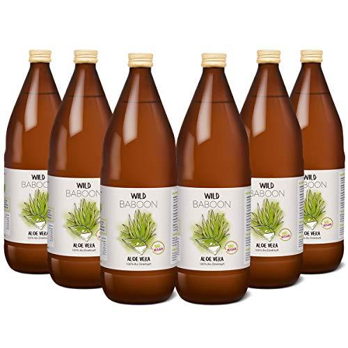 Wild Baboon Aloe Vera Saft aus 99,9% Bio Aloe Vera | 1200mg/Liter Aloverose | 6 x 1 Liter | nachhaltiger Anbau durch Familienbetrieb | Braunglas | Vegan | DE-ÖKO-005
