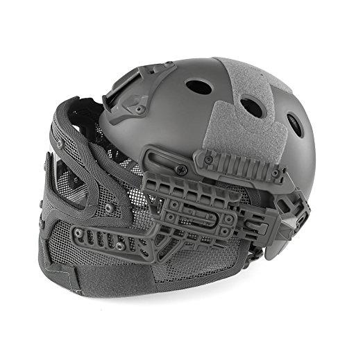 MAKE FINE Camouflage Integralhelm G4 Systemhelm Schutz Kohlenstoffarmer Stahl Maskenhelm Paintball Helm CS Spielausrüstung,Grau