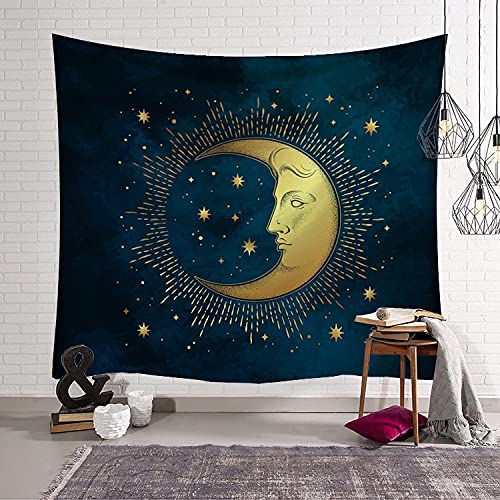 Sun Moon Art Tapiz Estilo bohemio Sala de estar Dormitorio Decoración del hogar Tapiz Dormitorio Colgante de pared Manta Manta A3 150x200cm