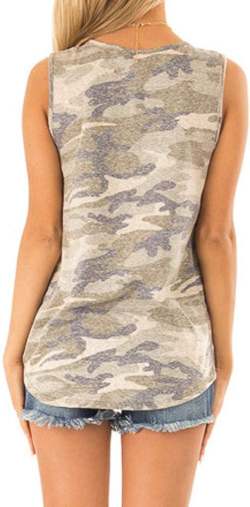 Camiseta sin Mangas con Estampado Mujer Tank Top de Camuflaje con Nudo en el Bolsillo Delantero de Lentejuelas Sexy y Elegantes Mujer Verano Camiseta ...
