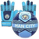 Manchester City FC - Juego Oficial de Guantes de Portero y balón - con autógrafos - Adolescentes: 10-16 años