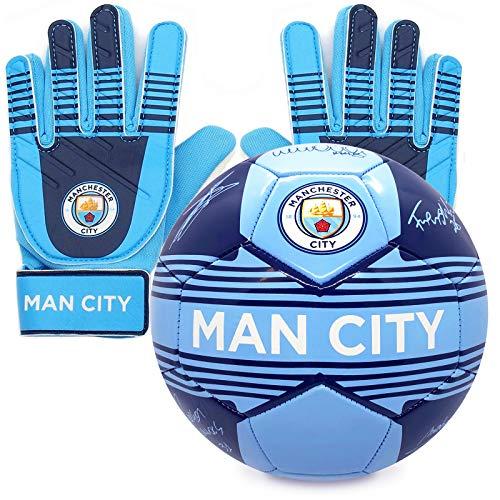 Manchester City FC - Fußball-Set - Torwarthandschuhe & Fußball mit Unterschriften Jungen: 5-10 Jahre