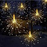 LED Lichterkette, Queta Lichtkette mit Fernbedienung Outdoor Weihnachtslichterkette Batteriebetrieben, explodierendes Feuerwerk, Warmweiß (180 Lichter)