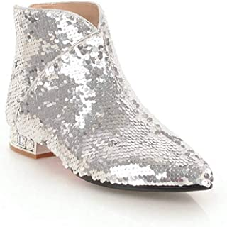 12795be4bdf4 Zarbrina Womens Low Square Heel Ankle Boots Ladies Fashion Sexy Pointed Toe  Zipper Up Slip On