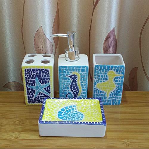 Accesorios de baño de cerámica de época Conjuntos, tocador de baño decoración pintada Ondas azules amarillas Océano animales de 4 piezas Contener dispensador de jabón, jabonera, 2 PC vaso, plato de ja