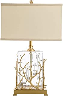 WSJTT Gold Crystal Table Lamp - Vintage Nightstand Gold Lamp with Clear Crystal Beads Lampshade Metal Base Stylish Decorat...
