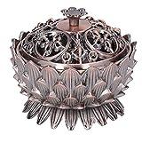 Cikonielf Quemador de Incienso Forma de Loto Soporte de Quemador de Aroma Antiguo Ocho símbolos auspiciosos Incensario de Flor de Loto de Metal para Regalo de decoración del hogar