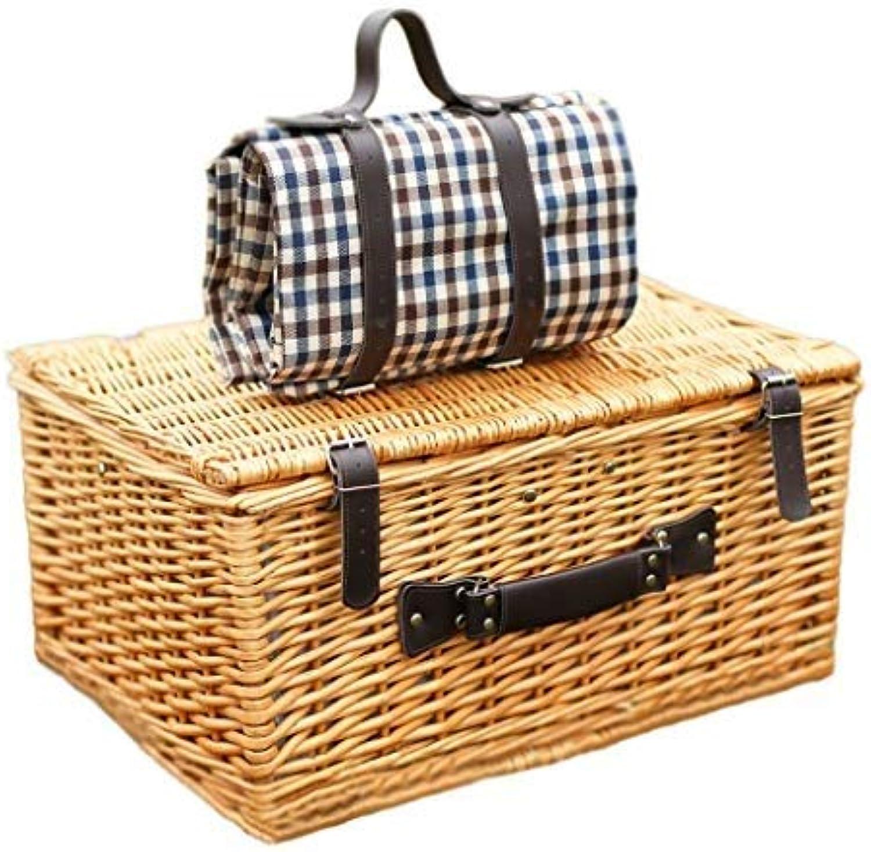 DJSMycl 4 Personen Wicker Picknickkorb Hamper (Antique Wash Willow) Für Camping Und Outdoor Party Picknick Matte Picknickkorb
