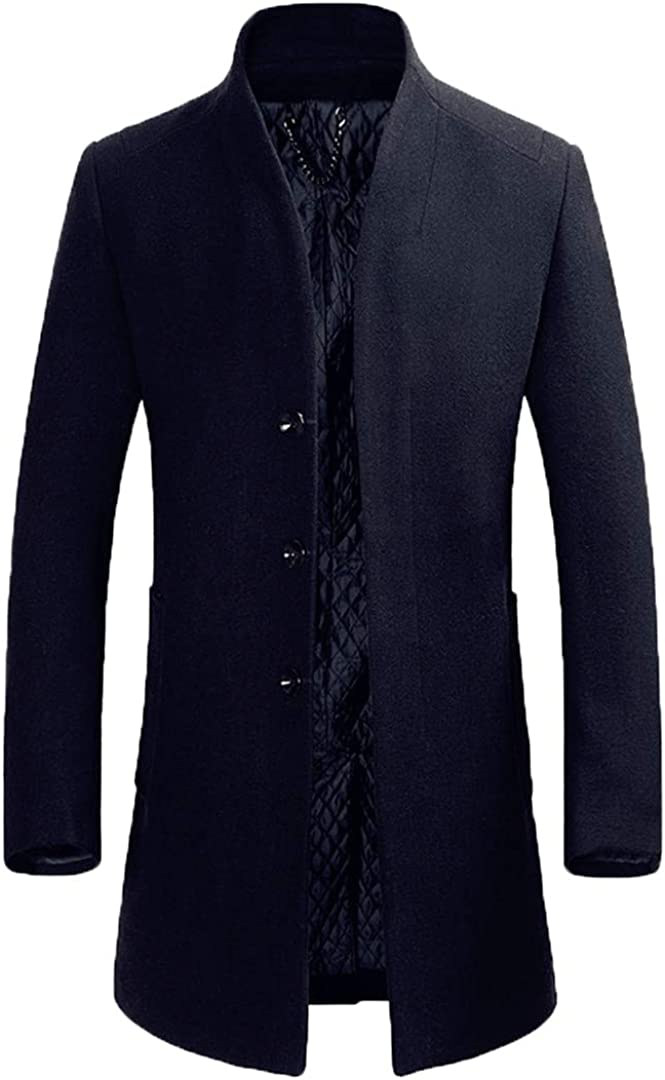 Men Wool Blends Long Section Slim Fit Trench Tops Winter Wool Blends Coat