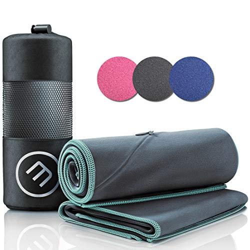 Mikrofaser Handtuch 2er Set: Schnelltrocknend, Kompakt, Leicht | Microfaser Microfiber Towel groß klein: Camping Fitness Sport Badetuch Sporthandtuch Reisehandtuch Mikrofaserhandtuch Fitnesshandtuch