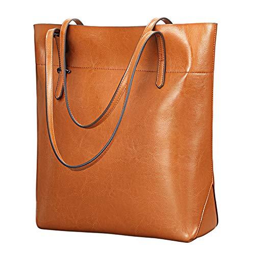 Kattee Vintage echtes Leder Tote Schultertasche Damen, Handtaschen Tragetasche Damen mit verstellbaren Griffe (Hellbraun -2)