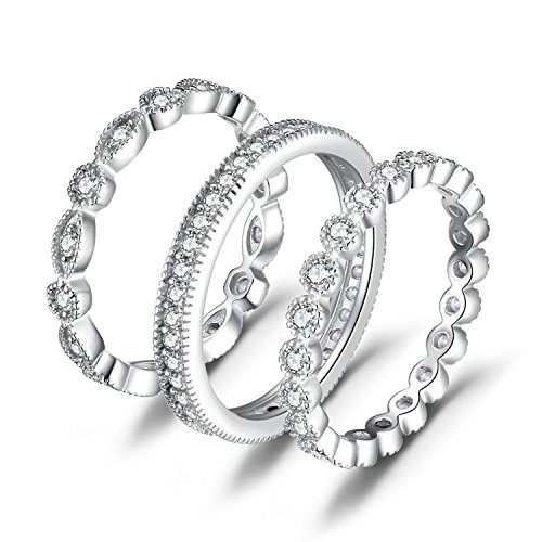 JewelryPalace Anillos Mujer Plata Diamante Simulado, Anillos Apilables de Compromiso Plata de ley 925 Mujer Oro, Promiso Anillo Mujer Alianzas Banda Boda Conjuntos, Joyería de Aniversario