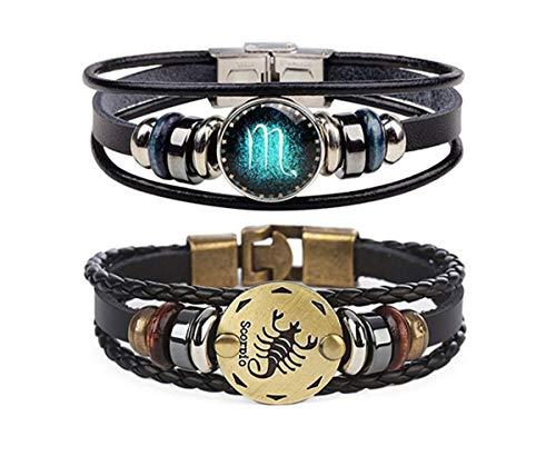 Retro 2pcs Scorpio Zodiac Bracelet for men Couple Gifts 12 Constellation Beaded Hand Woven Leather Bracelets Braided Punk Chain Cuff (Scorpio)