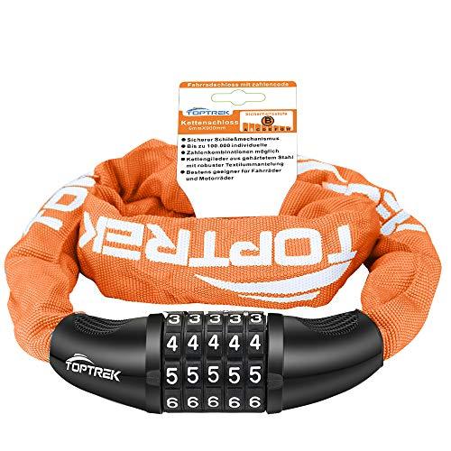 toptrek – Candado para bicicleta con números de 5 dígitos, cadena de acero 6 mm x 900 mm, candado con combinación numérica (naranja)