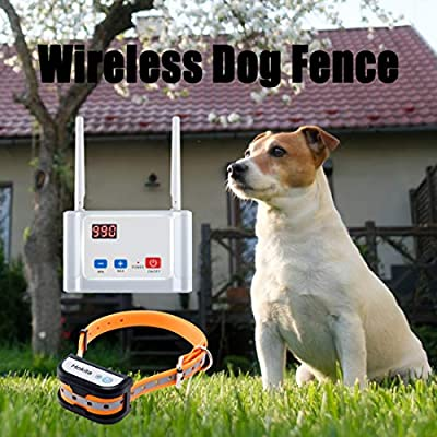 Hokita Dog Fence Wireless,Outdoor Electric Pet Containment System,with Waterproof and Rechargeable Training Collar Receiver Dog Boundary Container