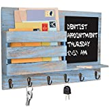 Honest Rustic Wood Wall-Mounted Mail Organizer with Chalkboard Surface &6 Metal Key Hooks,Enytryway Organizer Wall Decor Mail Holder for Magazine,Newspaper,Letter(Rustic Blue)